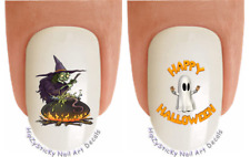 """Nail Art #720H Halloween """"Ghost & Witch 1"""" WaterSlide Nail Decals Transfers"""