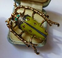 Lovely Vintage style green enamel crystal insect beetle brooch  in gift box