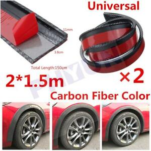 "2X 59"" Carbon Look Car Fender Lip Flare Wheel Moulding Trim Protector Universal"