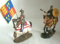 2 x Lead soldier toy Knight Crusade on horse templar collectable rare gift