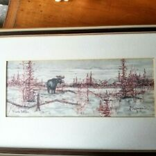 GEORGE AHGUPUK INUIT ESKIMO ARTIST INK AND WASH ON MOOSE SKIN Framed and Matted