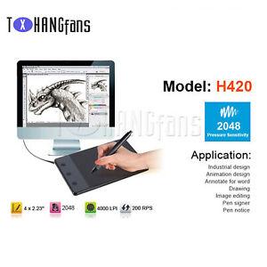 "H420 USB Drawing Writing Art Graphics Board Tablet 4"" x 2.3"" Digital Pen ATF"