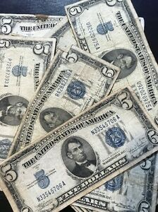1934 Well Circulated Five Dollar ($5) Silver Certificate Bill - Buying 1 Note