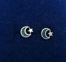 Sterling Silver TINY 6mm Blue Turquoise Stone chip Moon Star Studs Stud Earrings