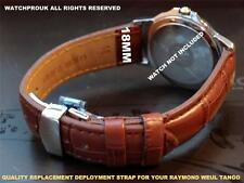 QUALITY DEPLOYMENT THICK LEATHER STRAP FOR YOUR RAYMOND WEIL TANGO MEN 18MM