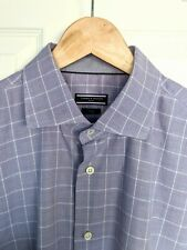 TOMMY HILFIGER Mens Shirt Purple White Check Tailored Fitted Size 44 Long Sleeve