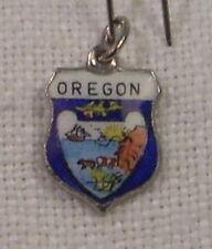 Vintage REU Sterling/Enamel Oregon State Flag Bracelet/Travel Charm - NOS