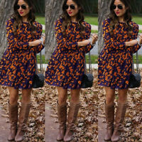 Women's Fashion Ladiesa Long Sleeve Autumn Print Casual Loose Blouse Dresses