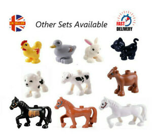 BN Set of 10 Compatible with Duplo Stables Farm Animals Horse, Cat, Dog, Duck
