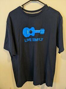 """Patagonia """"Live Simply"""" blue Guitar Logo Mens 100% Cotton T Shirt medium M RARE"""