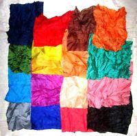 "LOT PURE SILK Vintage Sari Fabrics REMNANT 16 pcs 8"" SQUARES Plain Solid Colors"