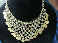 """Ottoman style necklace 40's-50's Bib 17 """" Middle Eastern Gold Plated coins"""
