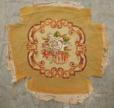 ANTIQUE 19th C FRENCH NEEDLE POINT TAPESTRY CHAIR COVER PANEL 47x48cm (A337)