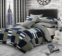 PATCHWORK CHECK DENIM PRINT COTTON BLEND KING SIZE DUVET COVER