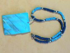 "BEAUTIFUL VINTAGE 16"" PUKA SHELL NECKLACE W /BLUE SHELL PENDENT"