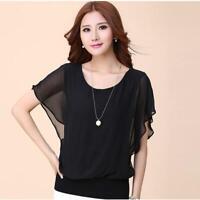Fashion Women Summer Loose Casual Chiffon Short Sleeve Shirt Tops Blouse DD