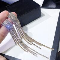 Fashion Women Long Tassel Blue Crystal Earrings Geometric Drop Dangle Ear Stud
