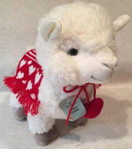 """Hallmark White Love Llama Heart Blanket and Collar 11"""" Soft Plush Stuffed"""