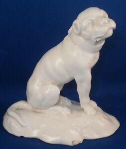 Antique 19thC French Faience Pug Dog Figurine Figure Hund Figur Statuette France