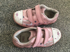 Clarks binkies girls Infant Pink Leather shoes trainers size 9 F with Lights