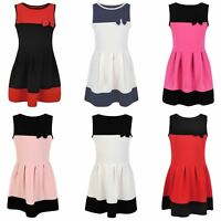 Girls Sleeveless Bow Skater Dress Textured Casual Summer Party Top Skirt 3-14 Y