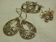 AVON Wave 3 Pairs of Earrings Set-Studs, Hoops & Drops-Goldtone with Rhinestones