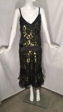 Nataya Dress Black Gold Lace Satin Flapper Gatsby Cocktail Sz S
