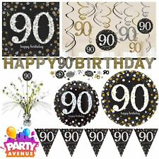 Gold Sparkling Celebration 90th Birthday Party Tableware Decorations Balloons