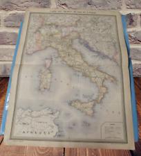 Ancienne Affiche Carte des chemins de fer de l'Italie Sardaigne Sicile Rome