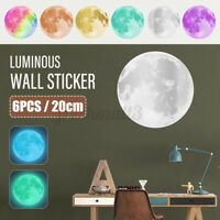 6x Moonlight Moon Luminous Wall Sticker Decal Glow In Dark Kids Room Decor
