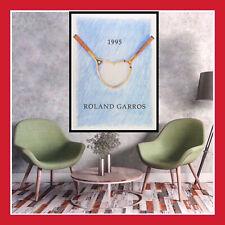REPRO AFFICHE ROLAND GARROS 1995 60x80 ANCIENNE TOILE POSTER RÉTRO TENNIS PARIS