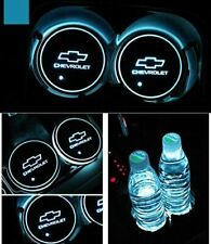 2Pcs Led Car Logo Cup Holder Pad 7 Colors Changing Lights Best Gift for Chevy