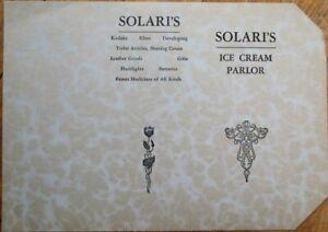 Solari's Ice Cream Parlor/Soda Fountain/Drug Store 1910 Restaurant Menu