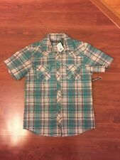 One90One Boy's Short Sleeve Multi Green Plaid Button Front Shirt Sz L(14-16) New