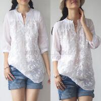 UK Womens Summer V Neck 3/4 Sleeve Floral Crochet Casual Loose Tops Shirt Blouse