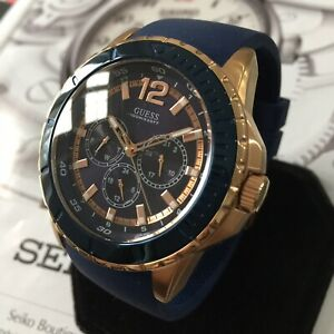 Mens Guess Designer Watch W0485G1 MAVERICK Rose Gold Blue Steel Genuine