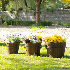 3PCs Wooden Raised Barrels Bucket Planter  Flower Pot w/ Handle