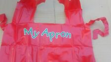 childs painting apron, red, ages 3-5. PVC. art, craft,