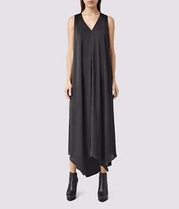 All Saints Blaze Little Black Dress Maxi/Asymmetric LBD Size 10 Fit 12 BNWT