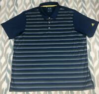 Adidas CLMCO MDRN STR Climacool Men's Golf Polo Blue Striped Shirt Size 2XL XXL
