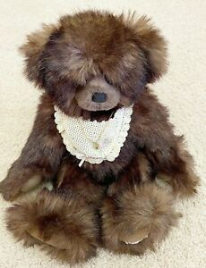"Barbara Brown Bears ""Rebecca"" Teddy Bear Necklace Lace Bib German Fur OOAK"