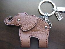 NWT COACH LEATHER ELEPHANT KEY FOB KEYRING KEYCHAIN BROWN 62750