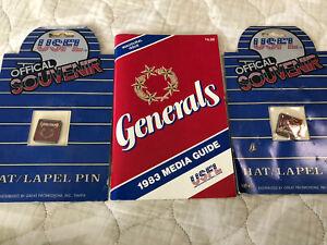 NJ GENERALS 1983 Media Guide MINT plus 2 Hat/Lapel Pins. Donald Trump Owner