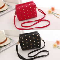 Girl Faux Leather Rivet Studded Small Cross Body Shoulder Bag Purse Handbag Tote