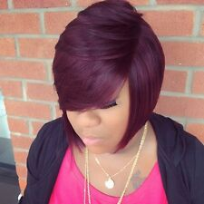 Fashion Bob Hairstyle African American Hair Purple Color Synthetic Hair Wigs
