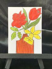 ACEO Original Spring Flowers Medium Black Ink Marker on Paper Signed by Artist