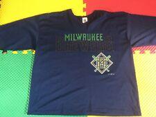 Rare Vintage 1997 Milwaukee Brewers Logo 7 Blue Shirt Men's Size XL Made In USA