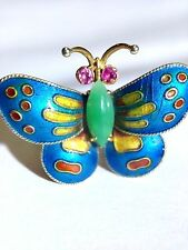 Super Sweet 14K Yellow Gold Cloisonne Enamel  Butterfly and Apple Jade Ring 4.5
