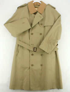 MISTY HARBOR Vtg BEIGE KHAKI RAINCOAT Trench LONG JACKET Zip Liner MEN'S 48R XL
