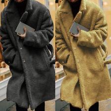 Men's Winter Warm Fluffy Coats Long Sleeve Fleece Fur Jackets Coats Cape Outwear